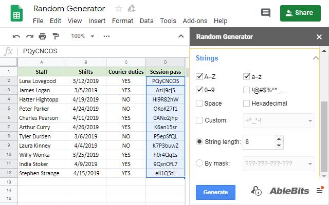 Random Generator - Google Sheets add-on