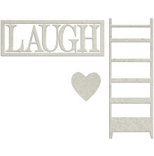 FabScraps Lavender Breeze Die-Cut Chipboard - Laugh W/Heart & Ladder