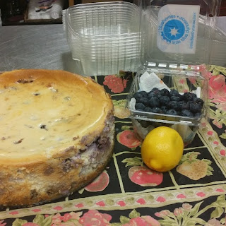 """Fresh Blueberry Cheesecake (from """"Miss Daisy's Blue Ribbon Desserts, p.96"""")."""