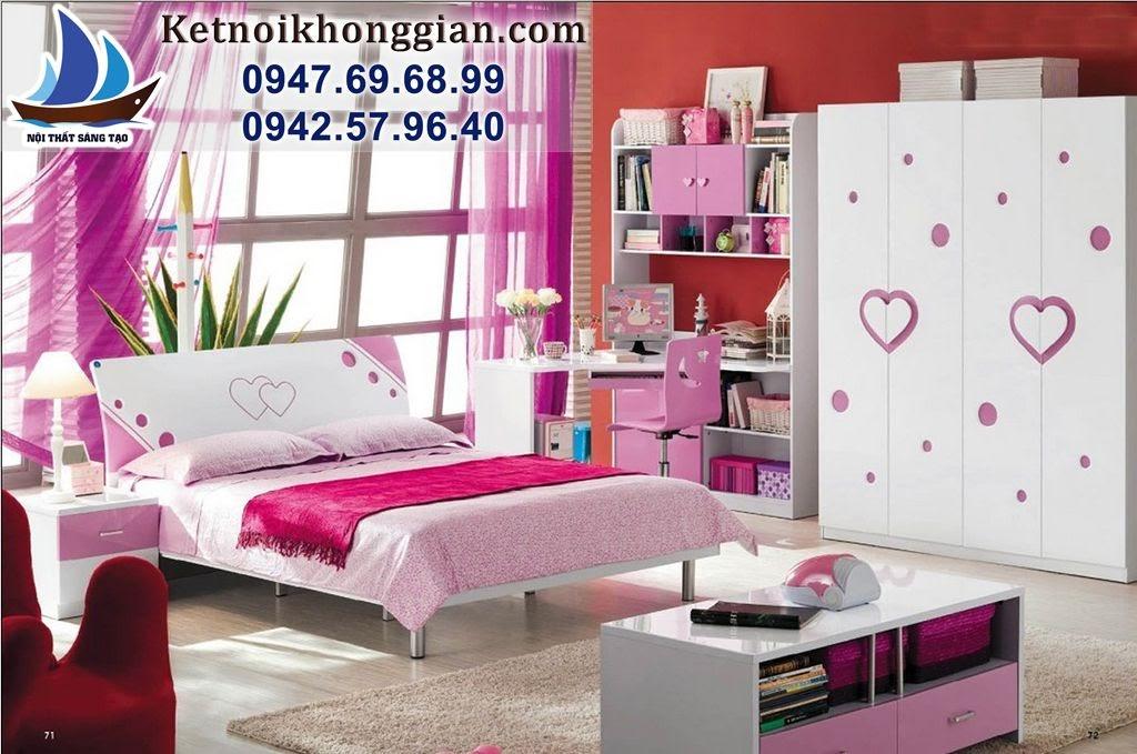 thiết kế phòng bé gái phong cách hiện đại