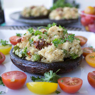Portobello Mushrooms With Quinoa Chicken Risotto