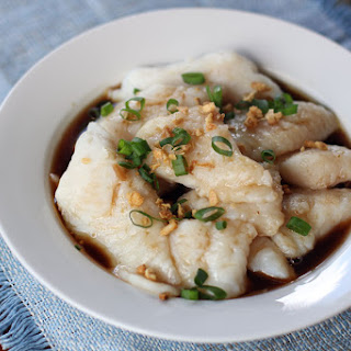 Steamed Cream Dory in Light Soy Sauce.