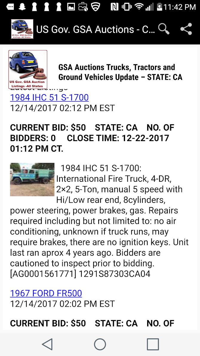 US Goverment GSA Auction Listings - All States Android 12