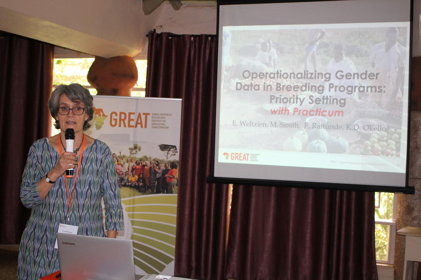 Above: Crop breeder Dr. Eve Weltzien facilitated the session on operationalizing data in breeding programs.