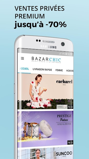 BazarChic, Vente Privée Vêtement & Chaussures Mode Android App Screenshot
