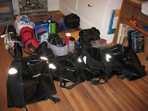 Photo: Packing for the bike camping trip.