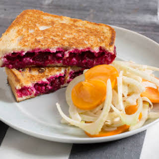 Ricotta & Beet Grilled Cheese Sandwiches with Persimmon & Marinated Fennel Salad.
