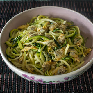 Spiralized Zucchini Noodles and Clam Sauce.