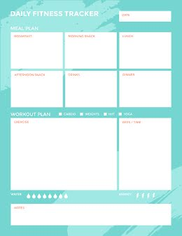 Teal Daily Fitness Tracker - Daily Planner item
