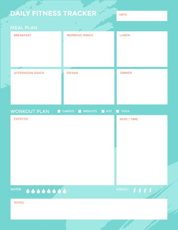Teal Daily Fitness Tracker - Daily Planner template