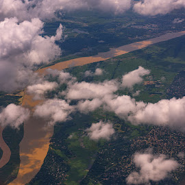 A Birds-Eye View of Northern India, 2016 by Manabendra Dey - Landscapes Cloud Formations ( clouds, bird's-eye-view, river )