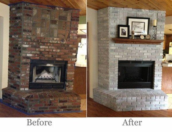 Transform Your Red Brick Fireplace To Look Like Stone