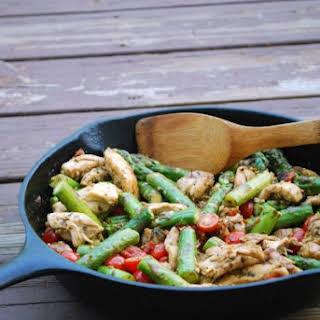 Skillet Pesto Chicken and Veggies.