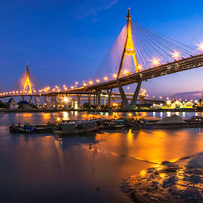 River of Life by Waraphorn Aphai - Transportation Boats ( #thailand, #landscape, #bangkok, #transportation, #twilight, #lighting, #life, #river, #boat )