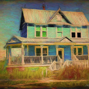 Oil Valentine House by Jackie Sleter - Painting All Painting ( home, oil painted, blue, green, yellow, house, historical )