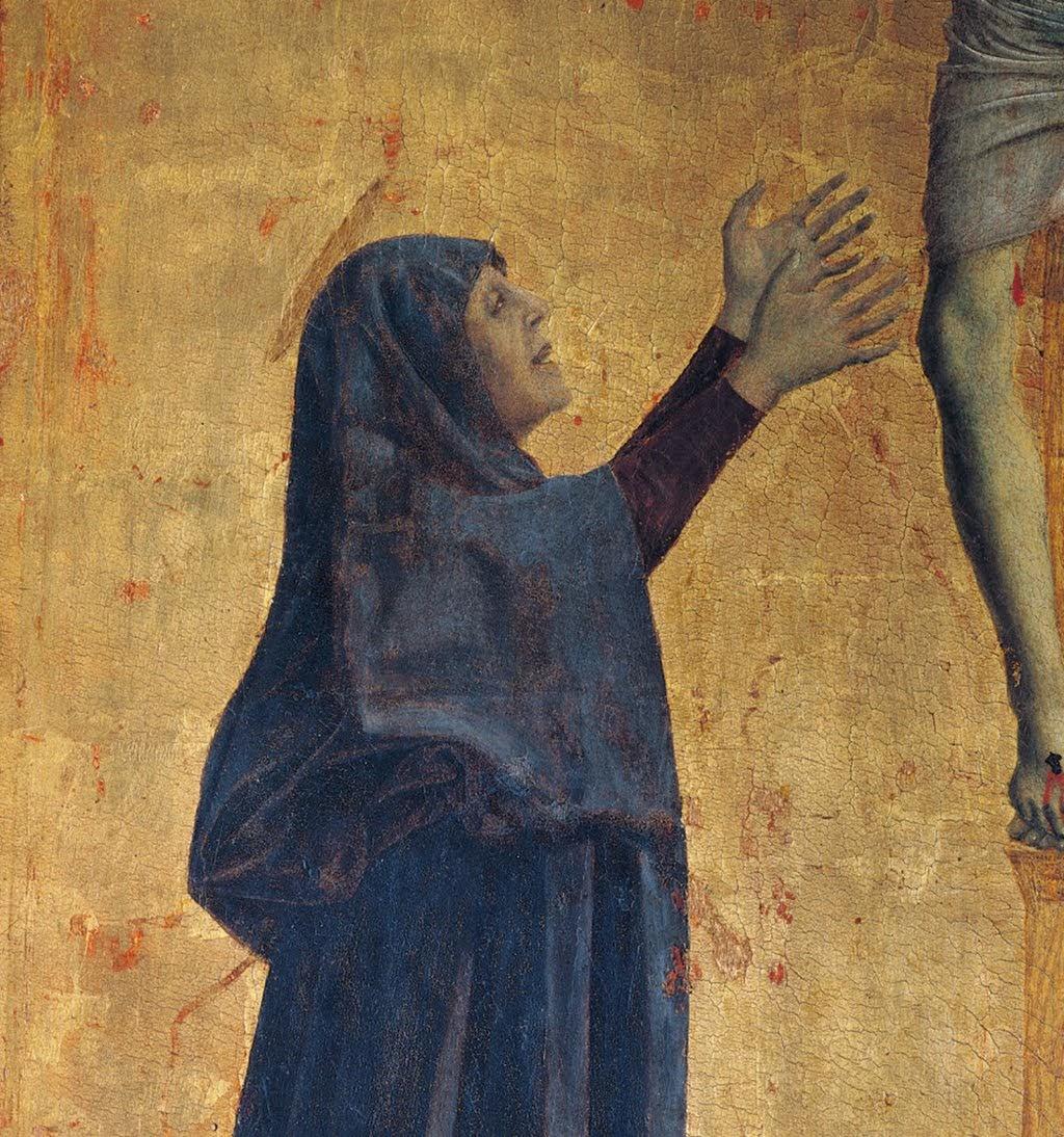Piero della Francesca, Polittico di Misericordia, Crocifissione, (particolare Vergine Maria), Museo Civico, Sansepolcro