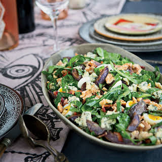 Collard Greens, Blue Potato and Bacon Salad.