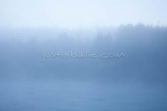 Photo: Scenic image of the Chilko River with fog. British Columbia, Canada.