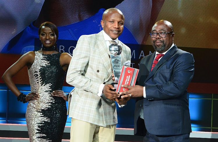 Thulas Nxesi, Minister of Sport and Recreation, and Footballer of the Year, Lebogang Manyama during the 2016/2017 PSL Awards evening at Sandton Convention Centre on July 10, 2017 in Johannesburg. Picture: LEE WARREN/ GALLO IMAGES