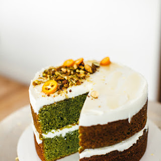 Fresh Mint Olive Oil Cake with Labneh and Honey.