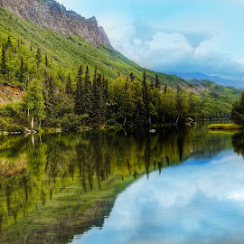 Long Lake Reflections  by Patricia Phillips - Landscapes Travel ( alaska summer lakes long reflections )