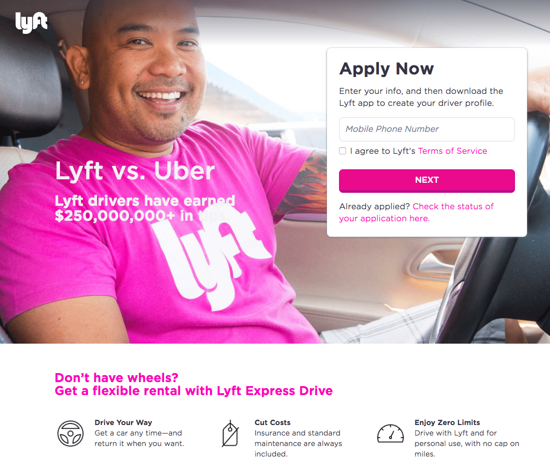 Great landing pages Lyft
