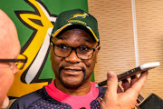 Nathi Mthethwa (Minister of Sport) during the South African national rugby team arrival media conference at OR Tambo International Airport on November 05, 2019 in Johannesburg, South Africa.