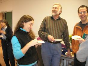 Photo: Margaret Taub, David Aldous, and Elchanan Mossel chatting