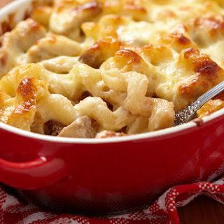 Mac& Cheese with Chicken and Mushrooms.