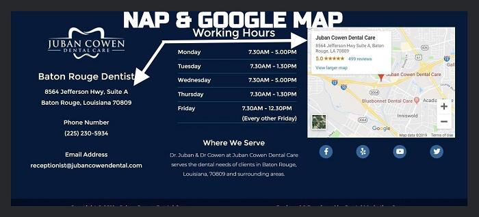 Google Map Embedded on Dentist's Website