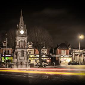 by Bradley Foot - City,  Street & Park  Street Scenes ( nighttime, atmospheric, street, clock, clock tower, architecture, light trail,  )