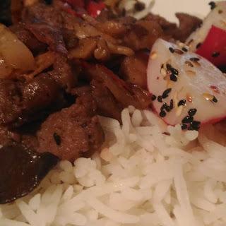 Mushroom Pork Stir-Fry with Radish Sesame Salad