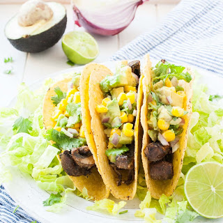 Beer-Marinated Portobello Mushroom Tacos with Avocado Corn Salsa.