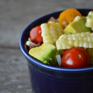 Grilled Corn Salad with Tomatoes and Avocados.
