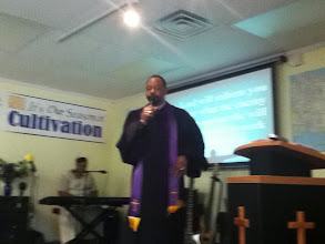 Photo: Sr. Pastor Jackson preaching on Father's Day 2012, before ordination of Pastor Lisa.