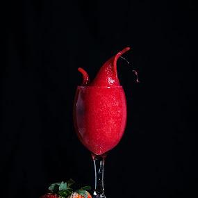 Strawberry Splash  by Rene Timbang - Food & Drink Fruits & Vegetables ( #strawberry #redfruits #strawberrysplash #creativity #canonshots )