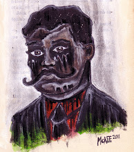 Photo: Zapata Zapatista. 4 ½ in x 5 ¼ in. Acrylic paint, pen & ink on antique book page (c. 1911). Signed on the front; title and signature on the back. © Marisol McKee