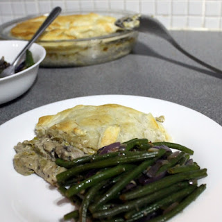 Leek And Mushroom Pie With Garlicky Green Beans.