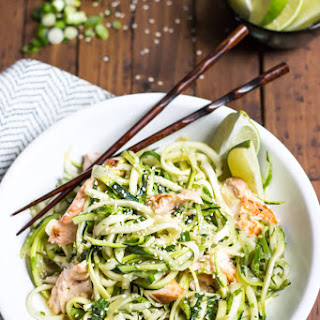 Asian Salmon Zucchini Noodle Bowl