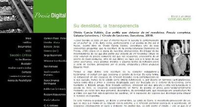 Photo: Semblanza de Pedro Antonio Urbina (septiembre 2007), crítica Poesía completa de Olvido García Valdés (julio 2009), Poesía Digital (poesiadigital.es)