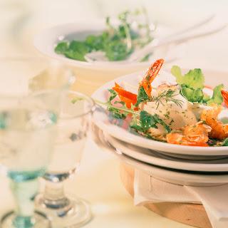 Rucola-Rettich-Salat mit Riesengarnelen (Gäste-Verwöhn-Salat)