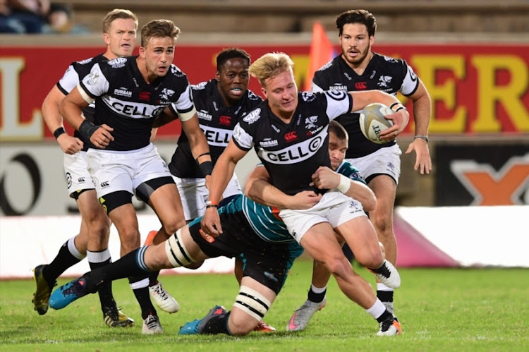 Tristan Blewett of the Cell C Sharks during the Currie Cup match between Tafel Lager Griquas and Cell C Sharks at Tafel Lager Park on September 15, 2017 in Kimberley.