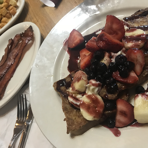 Gluten free triple berry French toast and bacon