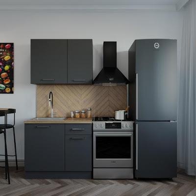 Кухня Антрацит 1032х600  Антрацит/ Дуб Вотан/ Антрацит