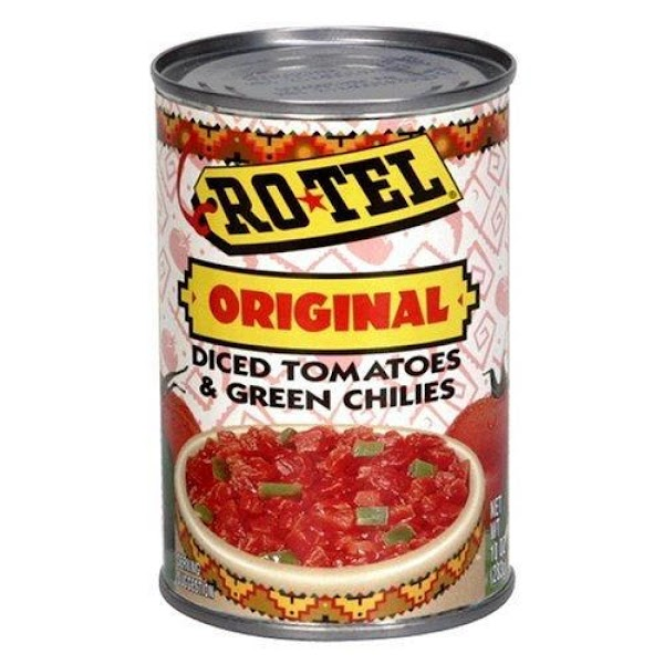 Pour both cans of Ro-tel tomatoes with green chilis in cooked sausage. Do NOT...