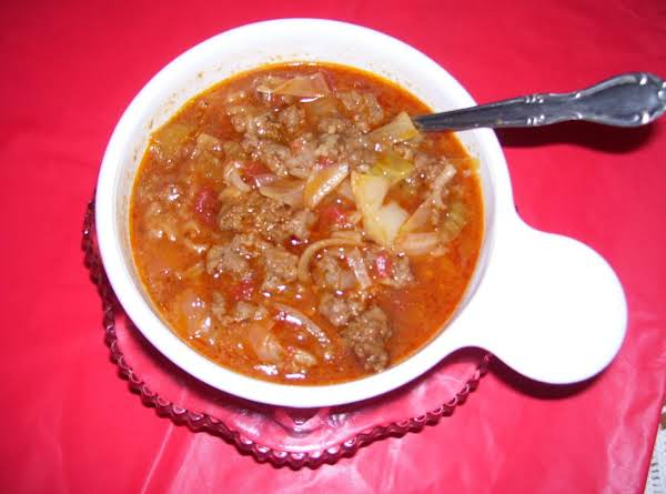 Have A Bowl Of Cabbage Roll Soup On Me. Great For A Full Meal, As This Is A Very Thick Soup. You Can Thin It Down To Your Desired Soup Consistency. Great For The Cold Days Of Winter. Serve With A Hot Dinner Roll, Or Crackers & Butter.