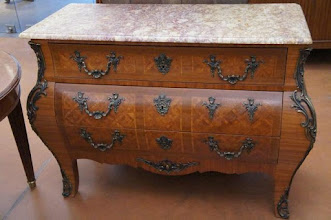 Photo: Code 3674. Regence style marquetry commode with cream, pink & purple marble on top, 90cm high x 125cm wide x 54cm deep. 20th Century. The Regency period existed when the Regent ruled France inbetween King Louis XIV and Louis XV. So you have a mix of the two periods