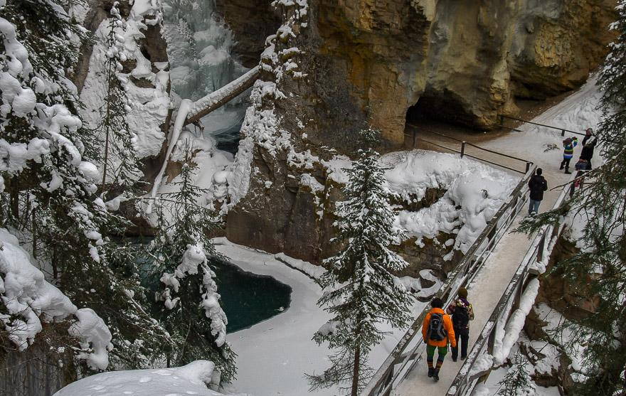Go through a short tunnel to see the first set of frozen waterfalls