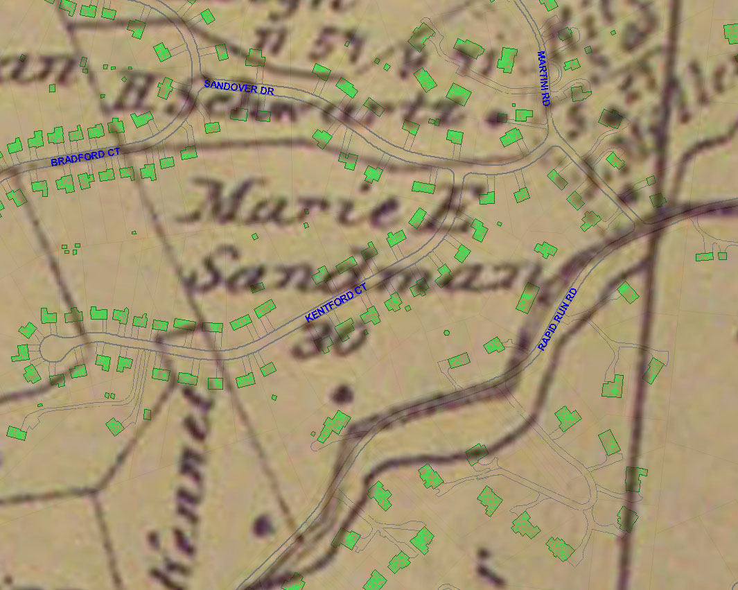 Photo: 2009 and 1869 map overlay