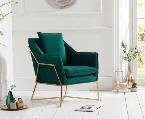 Larna Accent Chair - Green Velvet | Green chair living room, Accent chairs  for living room, Velvet living room